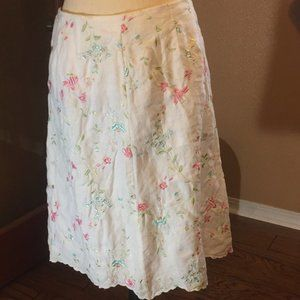 Grace Elements Linen floral Embroidered skirt